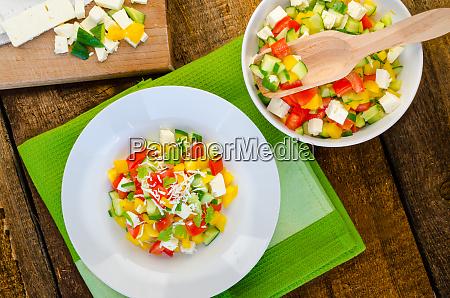 bulgarian salad with feta cheese