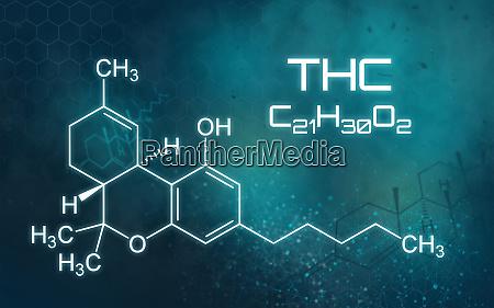 chemische formel von thc auf futuristischem