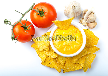 tortilla chips with tomato and cheese