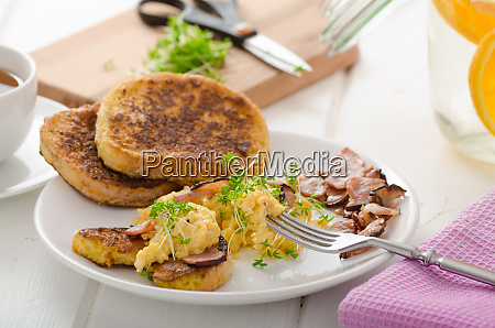 scrambled eggs with french toast topped