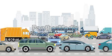 autos im stau an der kreuzung