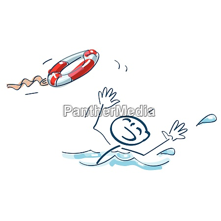 stick figure is thrown a swimming