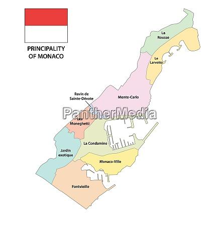 fürstentum, monaco, administrative, und, politische, landkarte - 27235078
