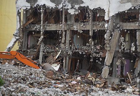 zerstörtes, gebäude, industriell., gebäudeabriss, durch, explosion. - 27235482