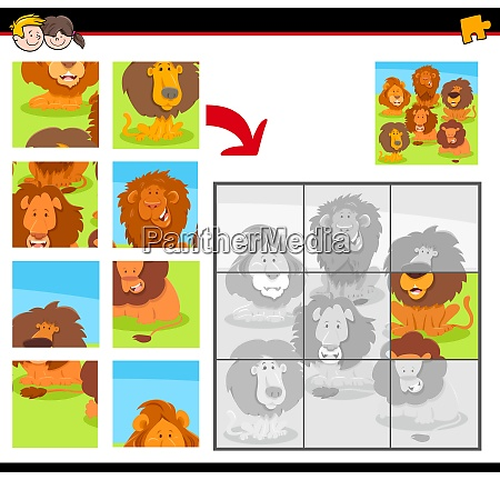 jigsaw puzzles with cartoon happy lions