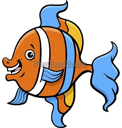 tropischen fisch cartoon charakter illustration