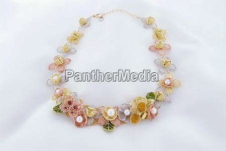 necklace, with, chiffon-like, flowers, , sheer, petals - 27256241