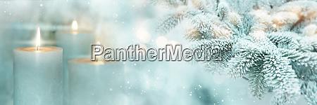 winterszene hintergrund mit kerzen