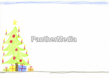 children's, drawing, with, decorated, christmas, tree - 27264449