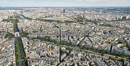 aerial view of paris with the