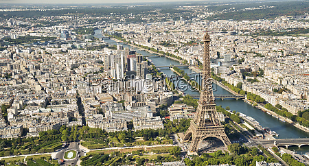 aerial view of the eiffel tower