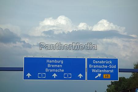 highway sign hamburg bremen bramsche osnabrueck