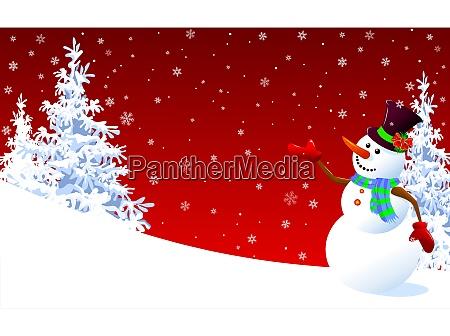 netter schneemann gruss auf rotem winterhintergrund