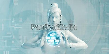 geschaeftsfrau mit digitalen loesungen