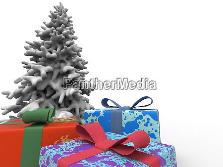 bunte geschenke und weihnachtsbaum mit schnee