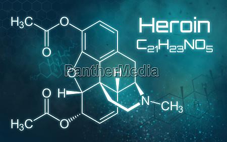 chemische formel von heroin auf einem