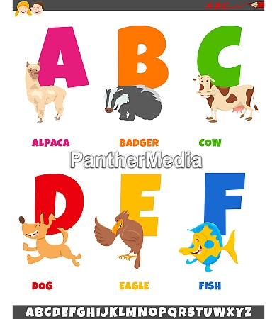 cartoon alphabet sammlung mit tierfiguren