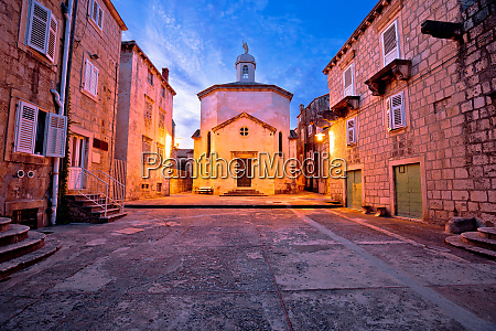town of korcula square stone church