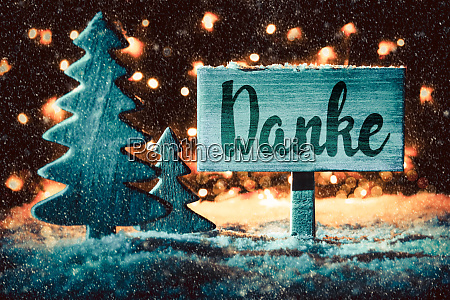 sign tree snowflakes calligraphy danke mean