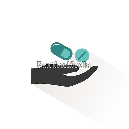 hand and pills flat icon with