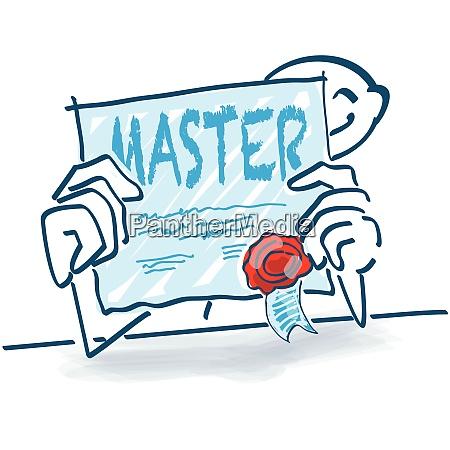 stickfigur mit zertifikat und master qualifikation