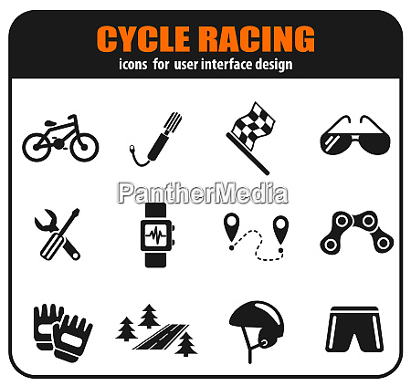 cycle racingicon set