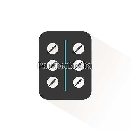 pack of pills flat icon with