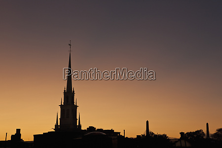 silhouette of a church and a