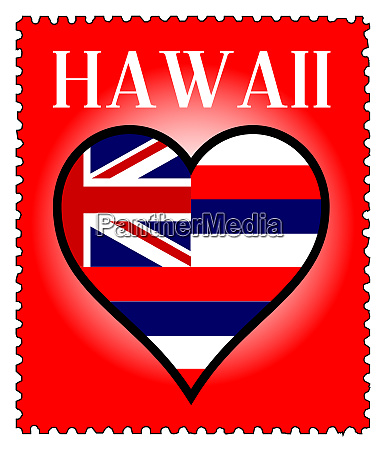love hawaii flag postage stamp