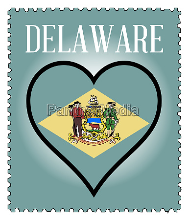 love delaware flag postage stamp