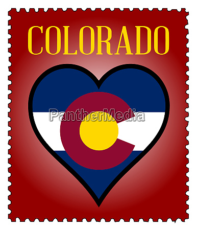 love colorado flag postage stamp