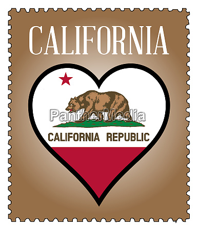 love california flag postage stamp