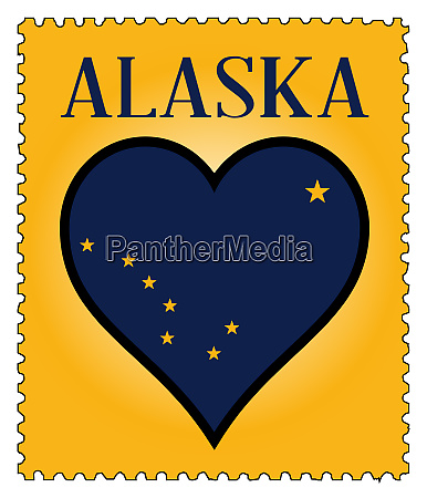 love alaska flag postage stamp