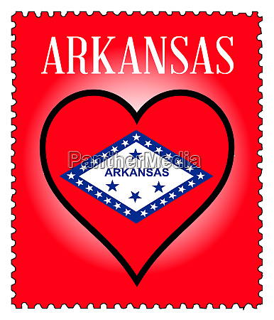 love arkansas flag postage stamp