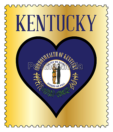 love kentucky flag postage stamp