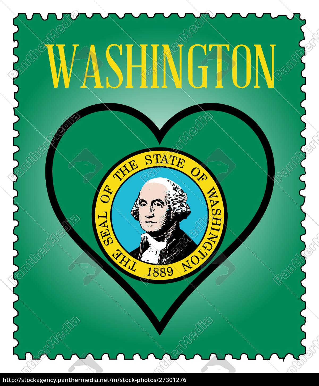 love, washington, flag, postage, stamp - 27301276