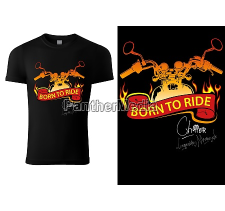 t shirt design with motorcycle and