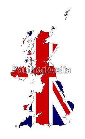 vereinigtes koenigreich karte silhouette und flagge