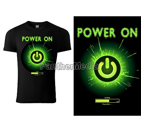 black t shirt design green power
