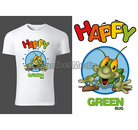 child t shirt with green smiling