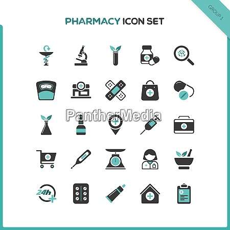 flat pharmacy and healthcare icon set