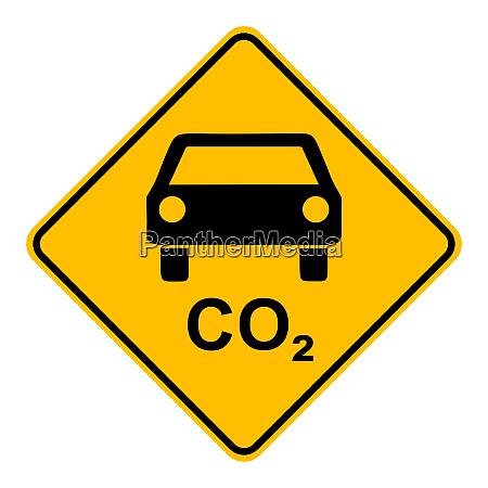 co2 auto und verkehrszeichen