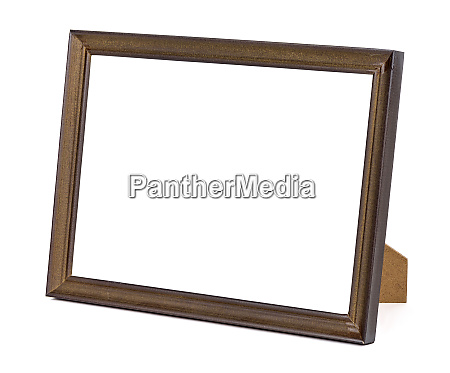 brown wooden picture frame on white