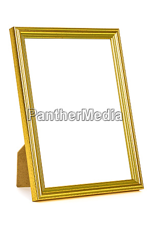 standing golden picture frame on white