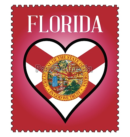 love florida flag postage stamp