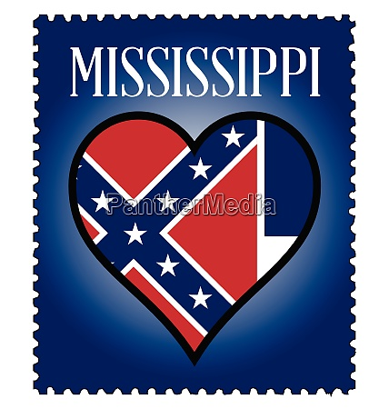 love mississippi flag postage stamp