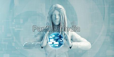 nordic business woman mit digitalen loesungen