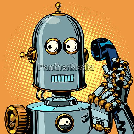 angst lustige roboter sprechen auf einem