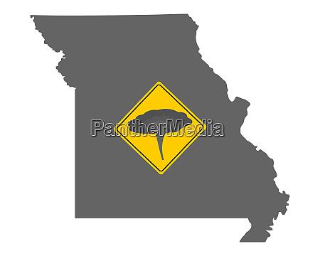 karte von missouri mit verkehrsschild tornadowarnung