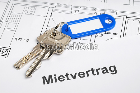 house key lease agreement and blueprint